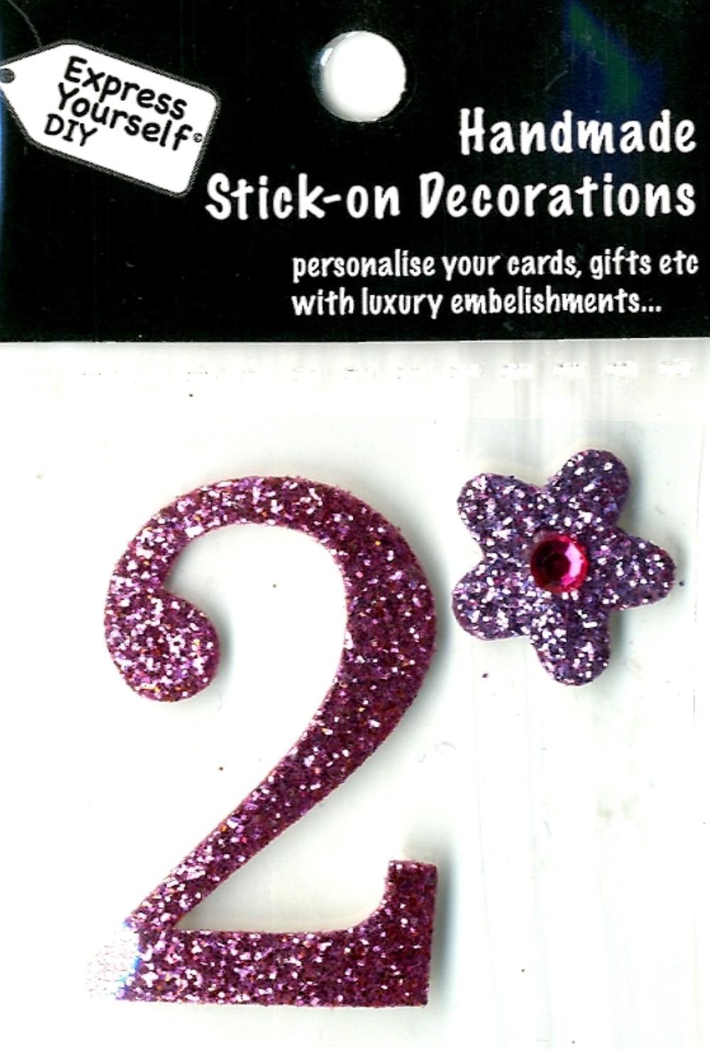Number 2 Diy Card Topper Pink