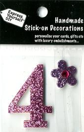 Number 4 Diy Card Topper Pink