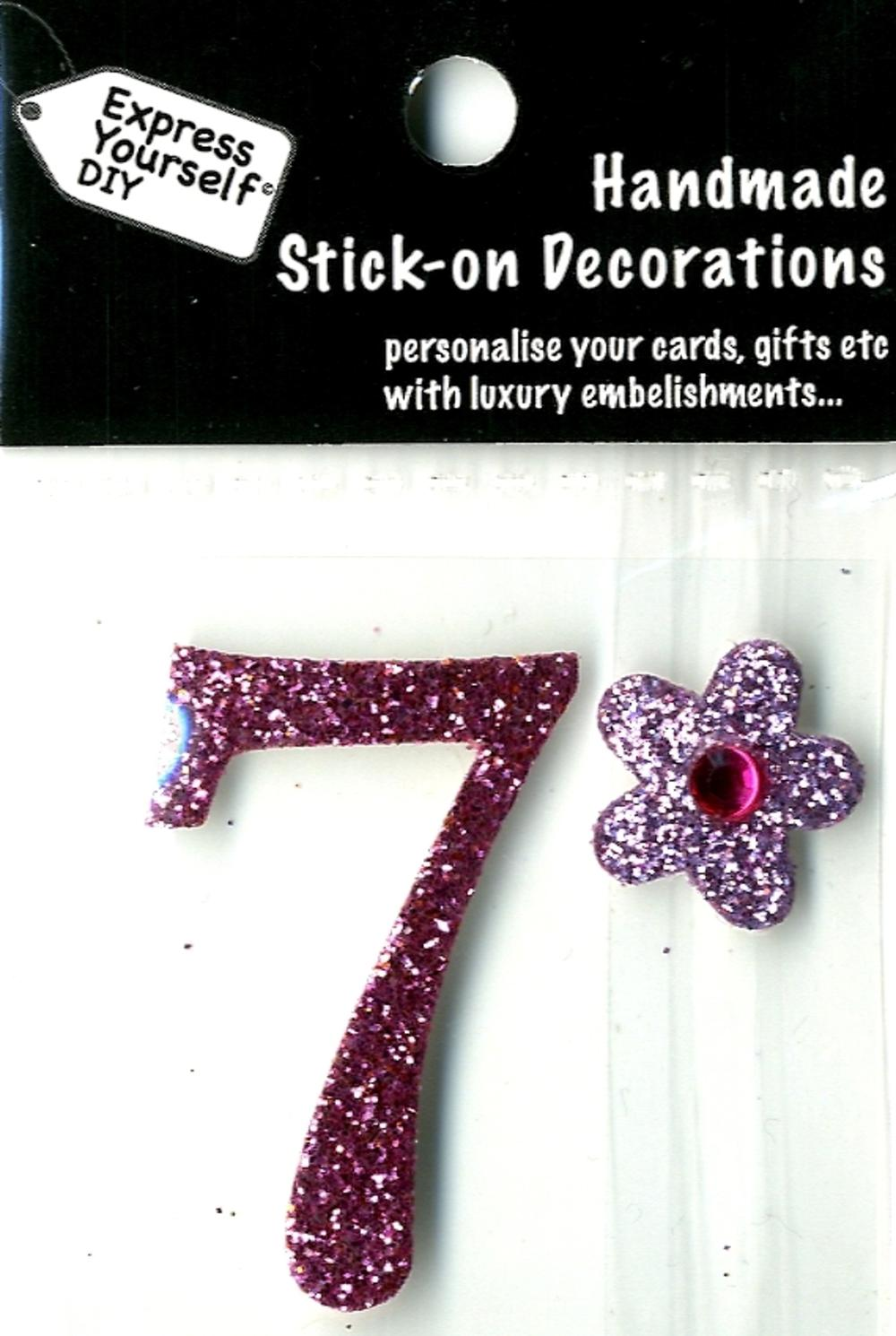 Number 7 Diy Card Topper Pink