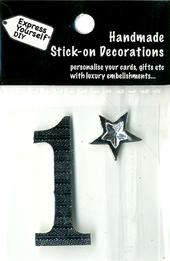 Number 1 Diy Card Topper Silver