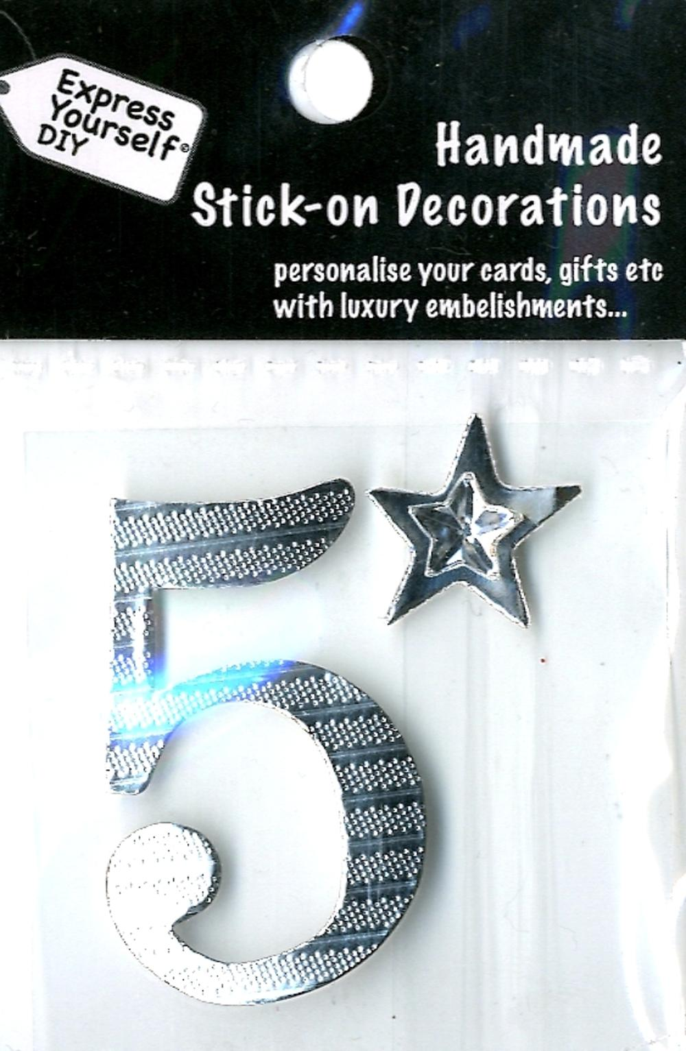 Number 5 Diy Card Topper Silver
