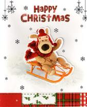 Boofle On Sledge Happy Christmas Card