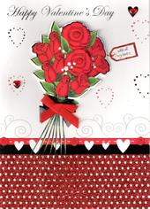Happy Valentine's Day Roses Hand-Finished Valentines Card