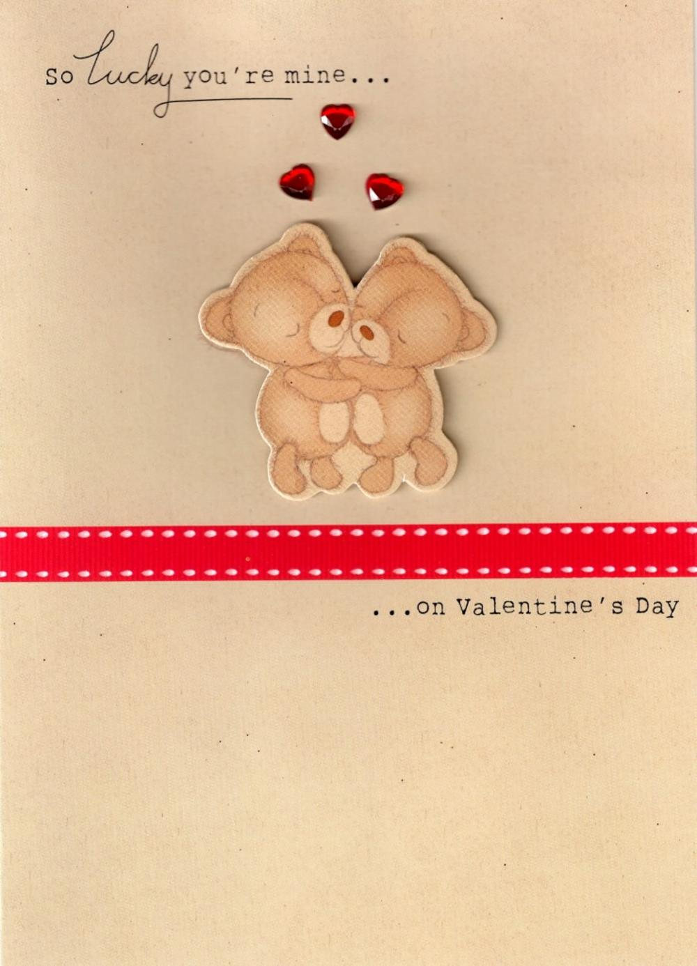 So Lucky You're Mine Cute Hand-Finished 3D Valentines Card