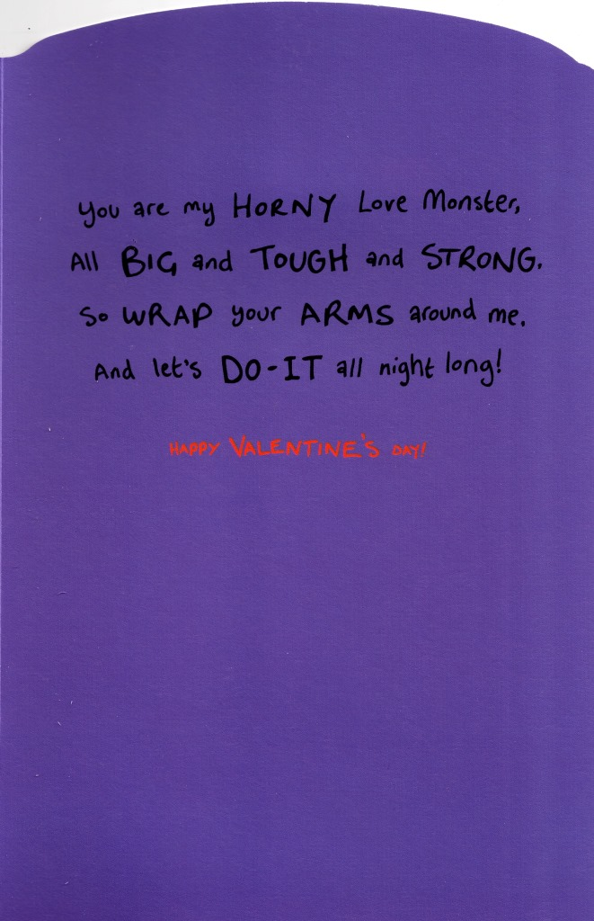 sentinel horny husband love monster valentines day card naughty valentine cards - Naughty Valentine