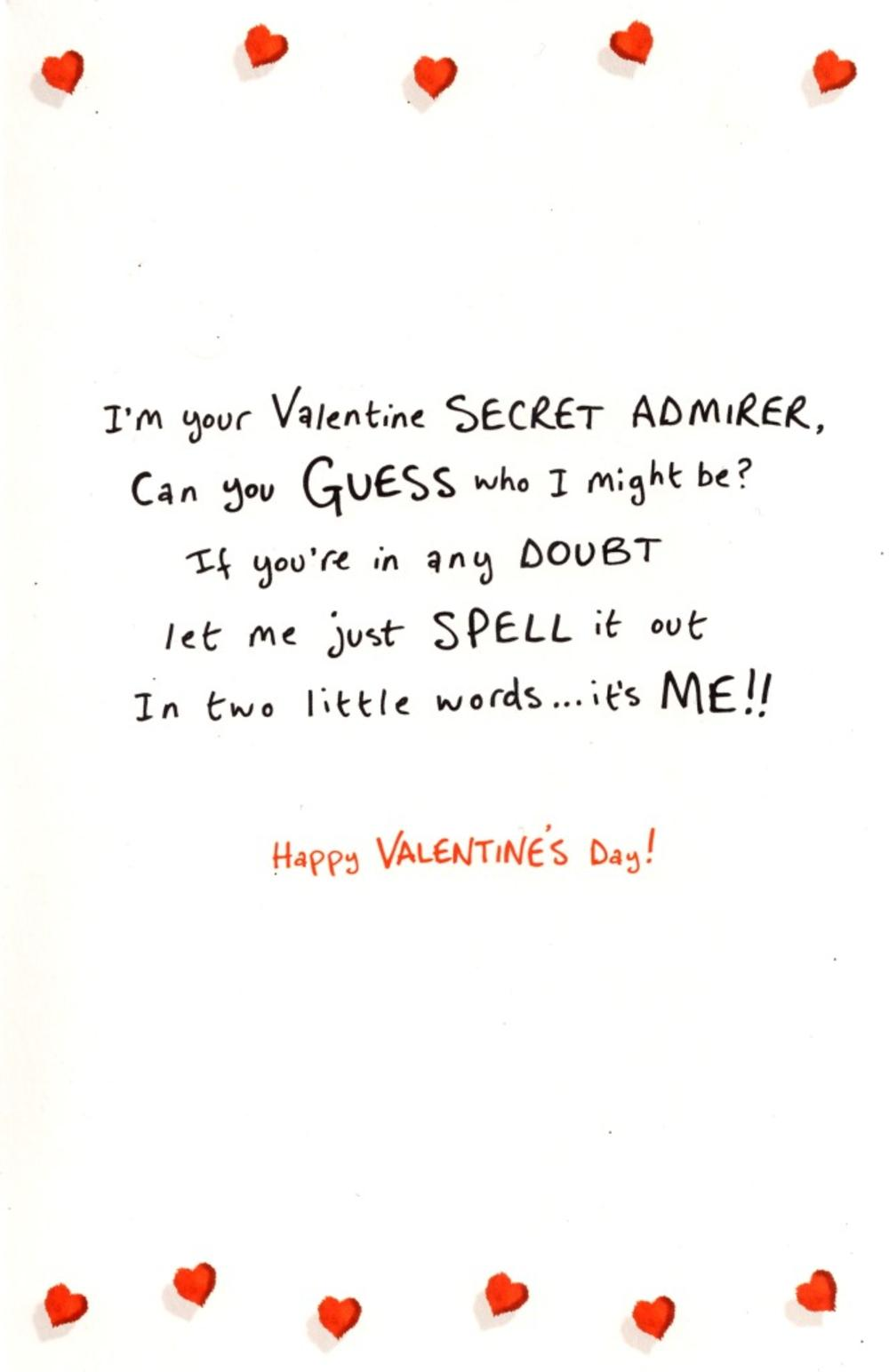 From Your Secret Admirer Love Monster Valentines Day Card – Cookie Monster Valentine Cards