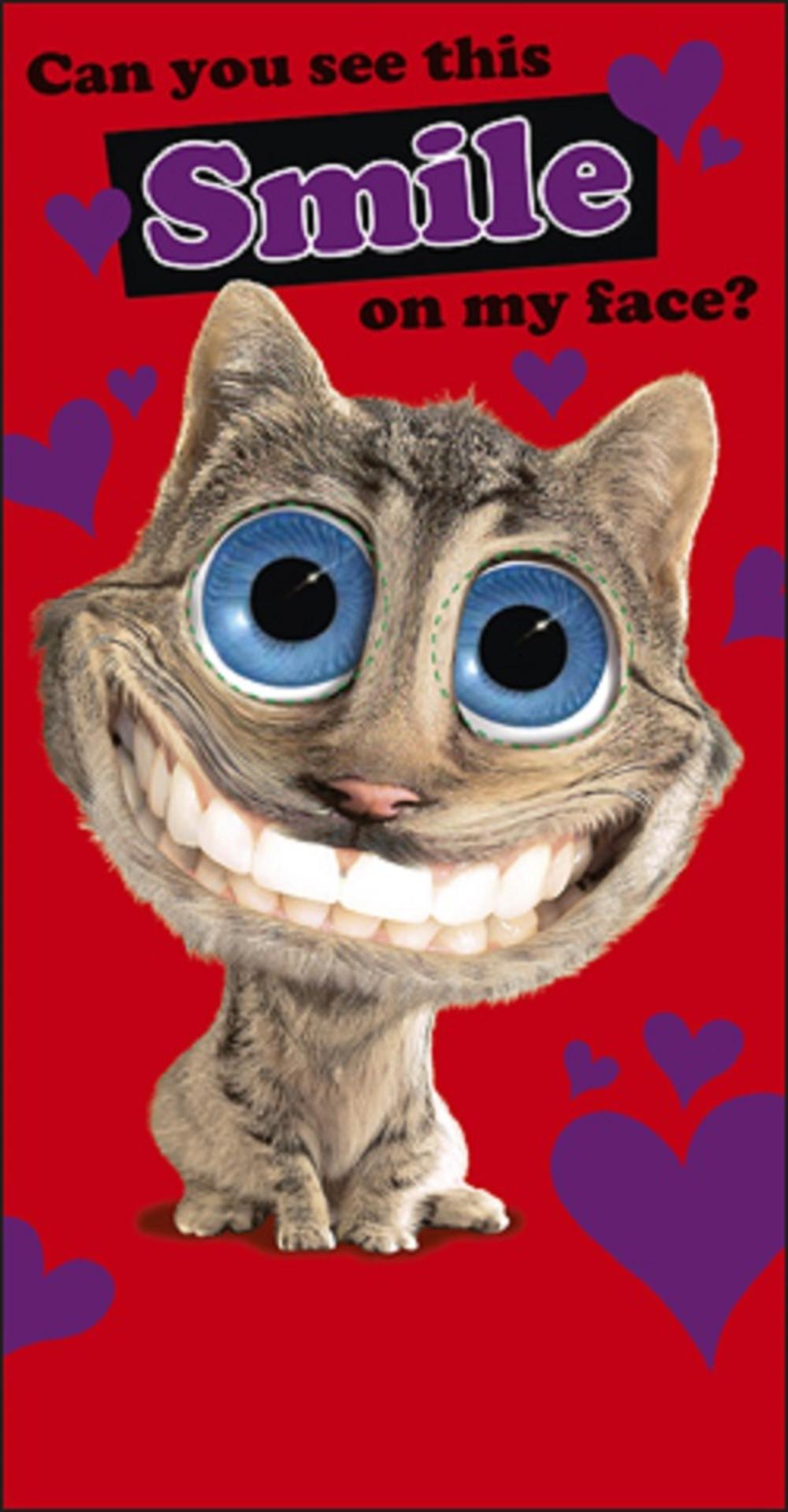 smiling cat valentines day card - Cat Valentines Day