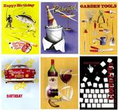 Assorted Pack of 6 Male Birthday Greeting Cards