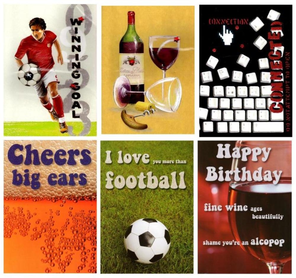 Assorted Pack of 6 Male Hobby Birthday Cards