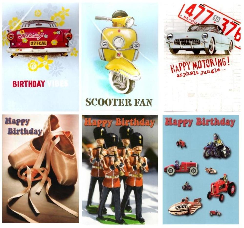 Assorted Pack of 6 Birthday Greeting Cards Retro Male