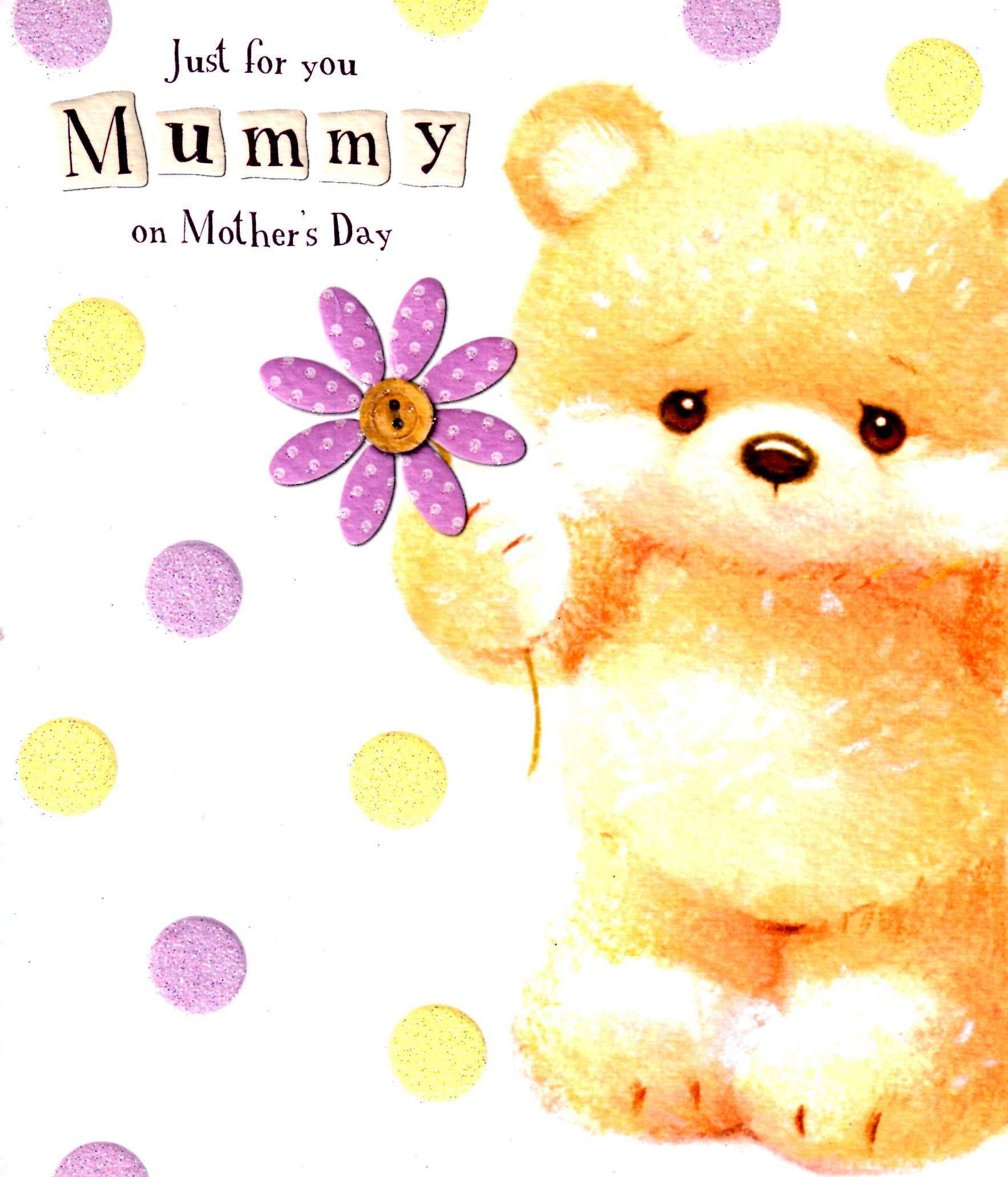 Just For You Mummy Happy Mothers Day Card Cute Bear Greeting Cards