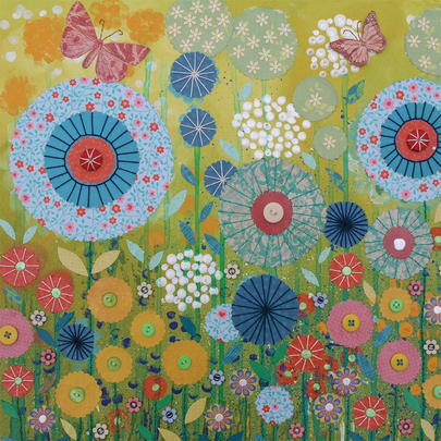Button Meadow Square Blank Greeting Card by Artist Jo Grundy
