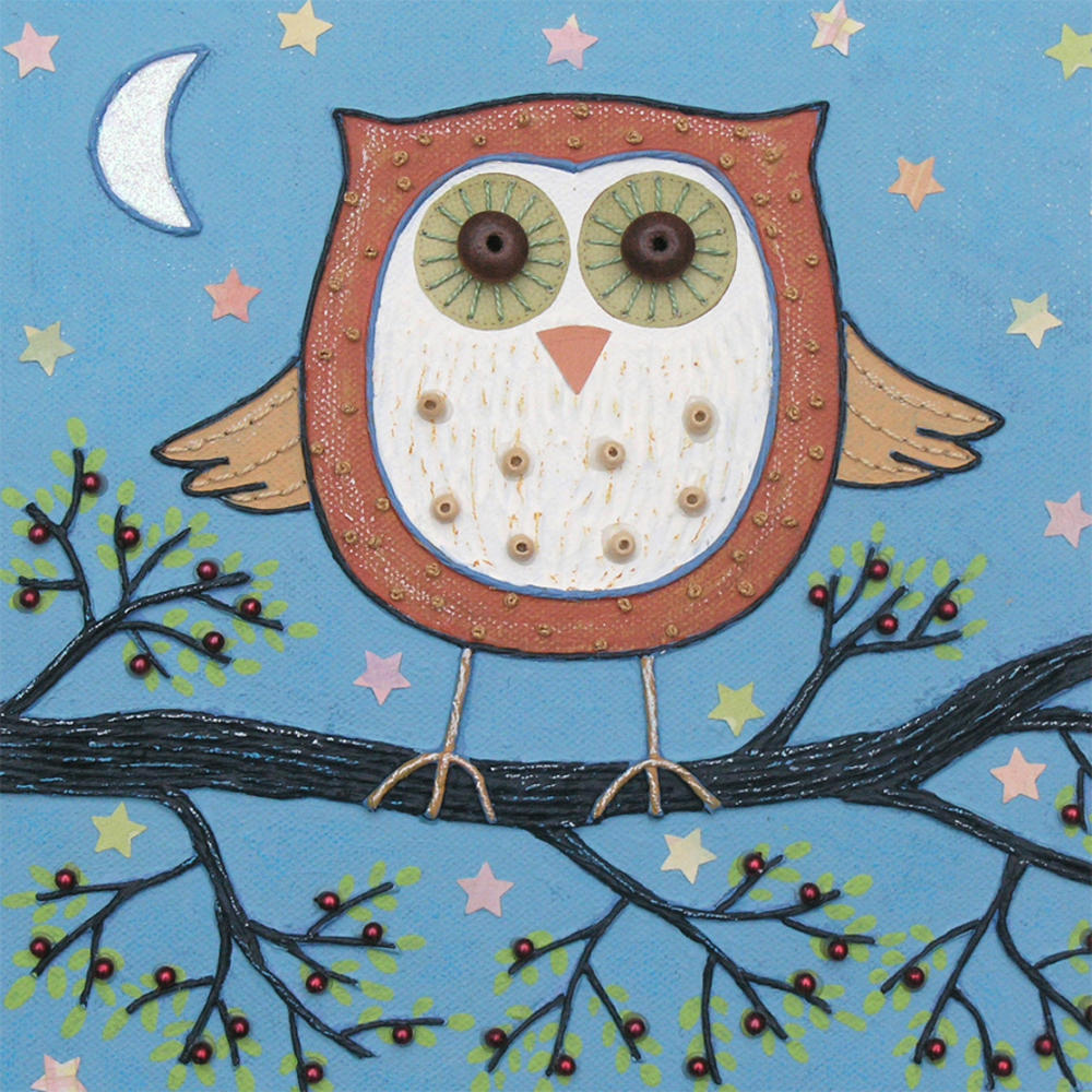 Night Owl Square Blank Greeting Card by Artist Jo Grundy