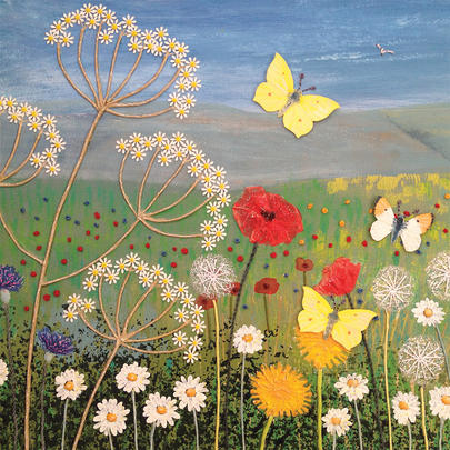 Wild Flowers Square Blank Greeting Card by Artist Jo Grundy