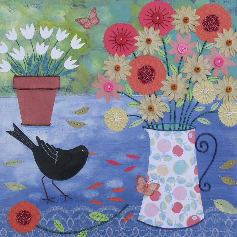 Garden Table Square Blank Greeting Card by Artist Jo Grundy