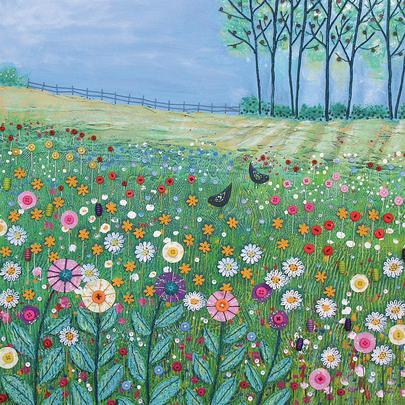 Field Flowers Square Blank Greeting Card by Artist Jo Grundy