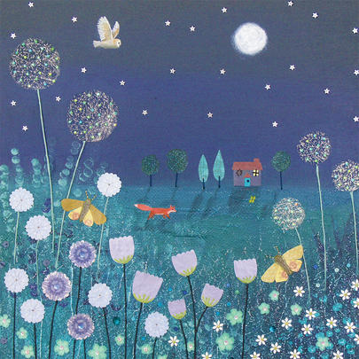 Midnight Meadow Square Blank Greeting Card