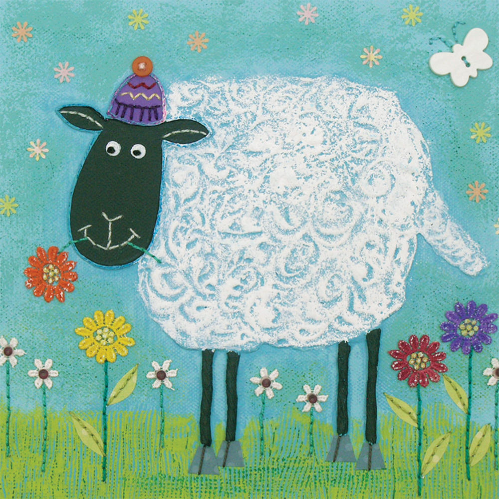 Woolly Sheep Square Blank Greeting Card by Artist Jo Grundy