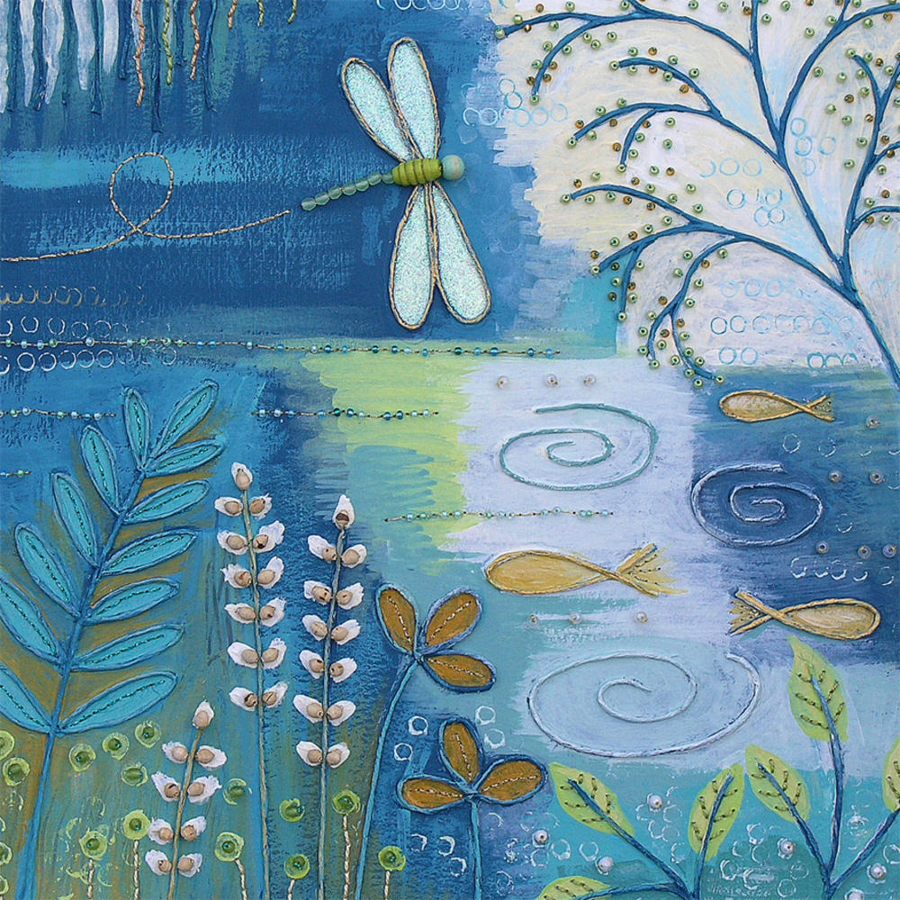 Dragonfly Square Blank Greeting Card by Artist Jo Grundy