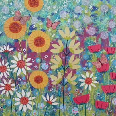 Wild Garden Square Blank Greeting Card by Artist Jo Grundy