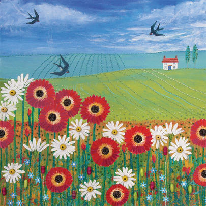 Summertime Square Blank Greeting Card by Artist Jo Grundy