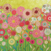 Spring Green Square Blank Greeting Card by Artist Jo Grundy