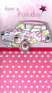 Pink Car Pretty Birthday Greeting Card