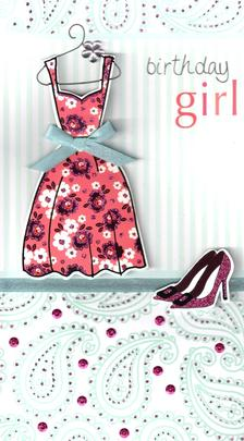 Pretty Dress Birthday Girl Greeting Card
