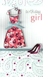Pretty Dress Birthday Girl Greeting Card