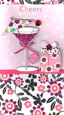 Cheers Pretty Happy Birthday Greeting Card