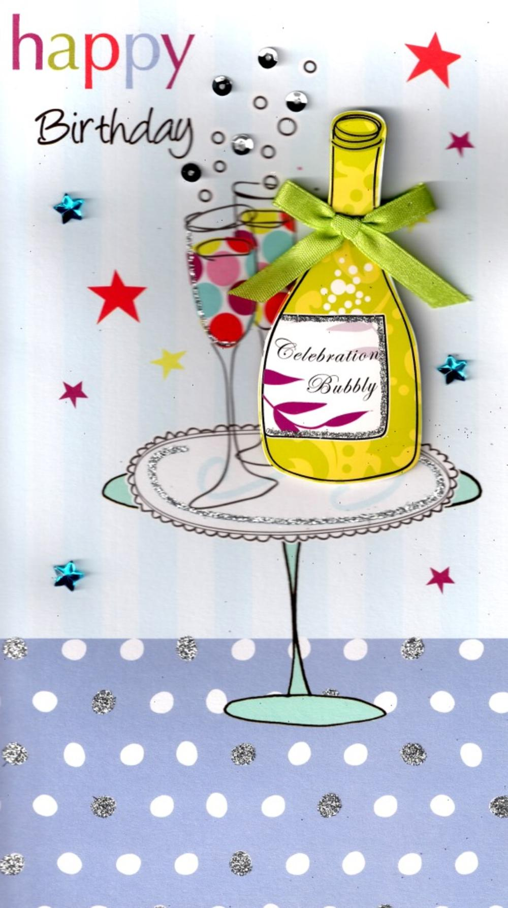 Bubbly Pretty Happy Birthday Greeting Card
