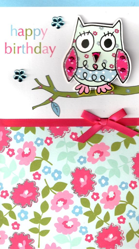 owl pretty happy birthday greeting card  cards  love kates
