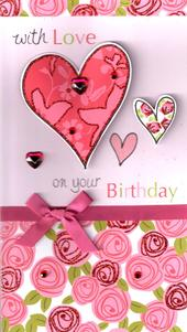 With Love On Your Birthday Greeting Card