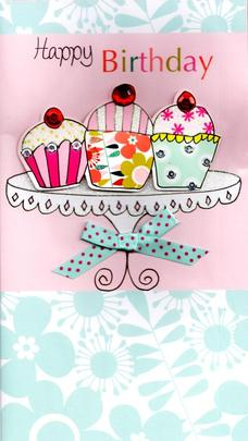 Cupcakes Pretty Happy Birthday Greeting Card