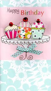 Cupcakes Pretty Happy Birthday Greeting Card