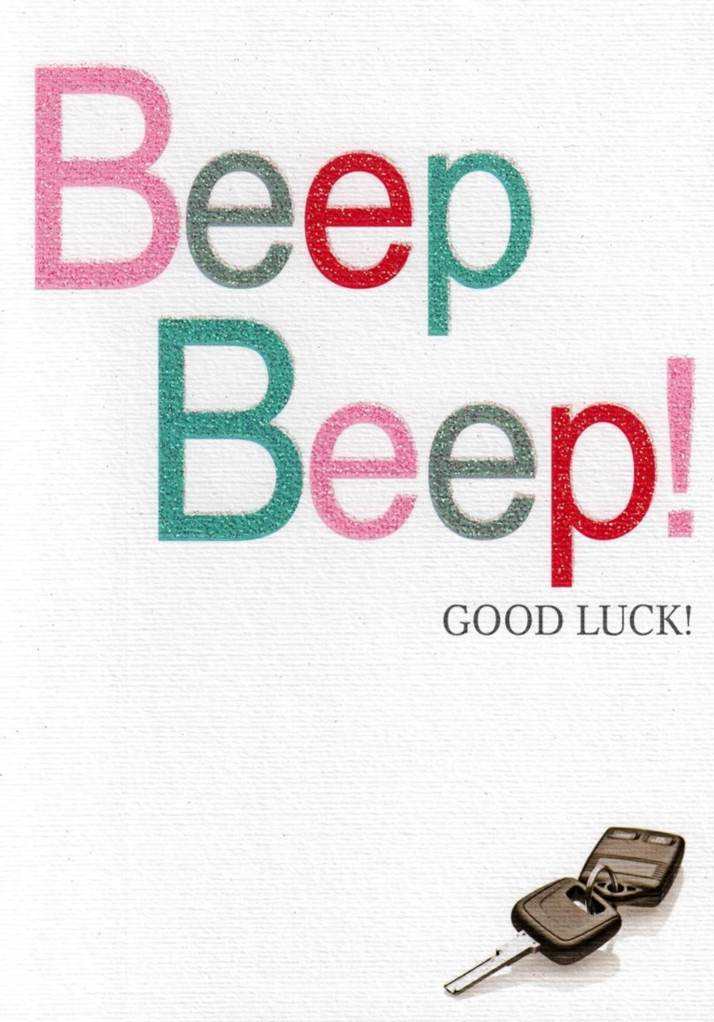 Beep Beep Good Luck Driving Test Greeting Card