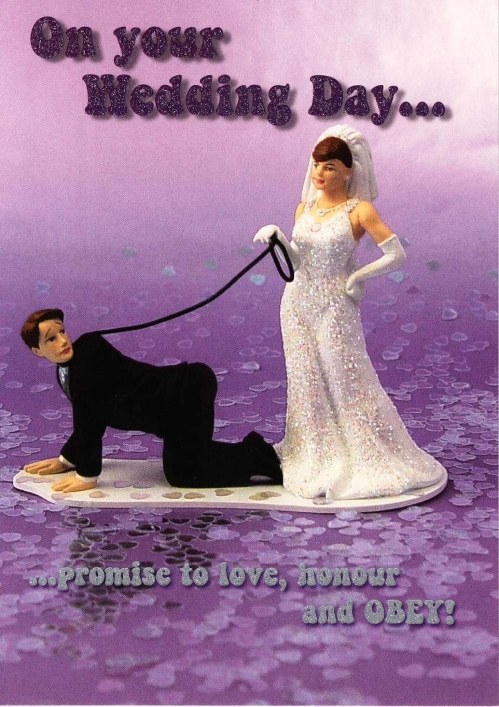 On Your Wedding Day Promise To Obey Funny Greeting Card Cards