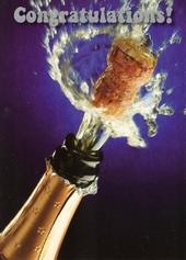 Congratulations Celebration Champagne Bottle Greeting Card