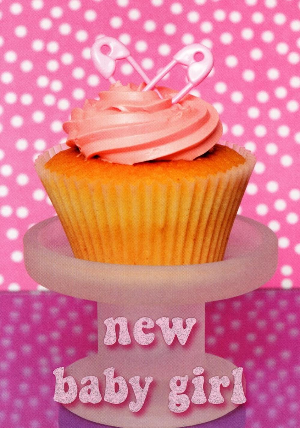 New Baby Girl Congratulations Cupcake Greeting Card