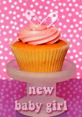 New Baby Girl Congratulations Cupcake Greeting Card