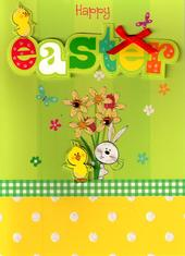 Happy Easter Cute Chick & Bunny Easter Card