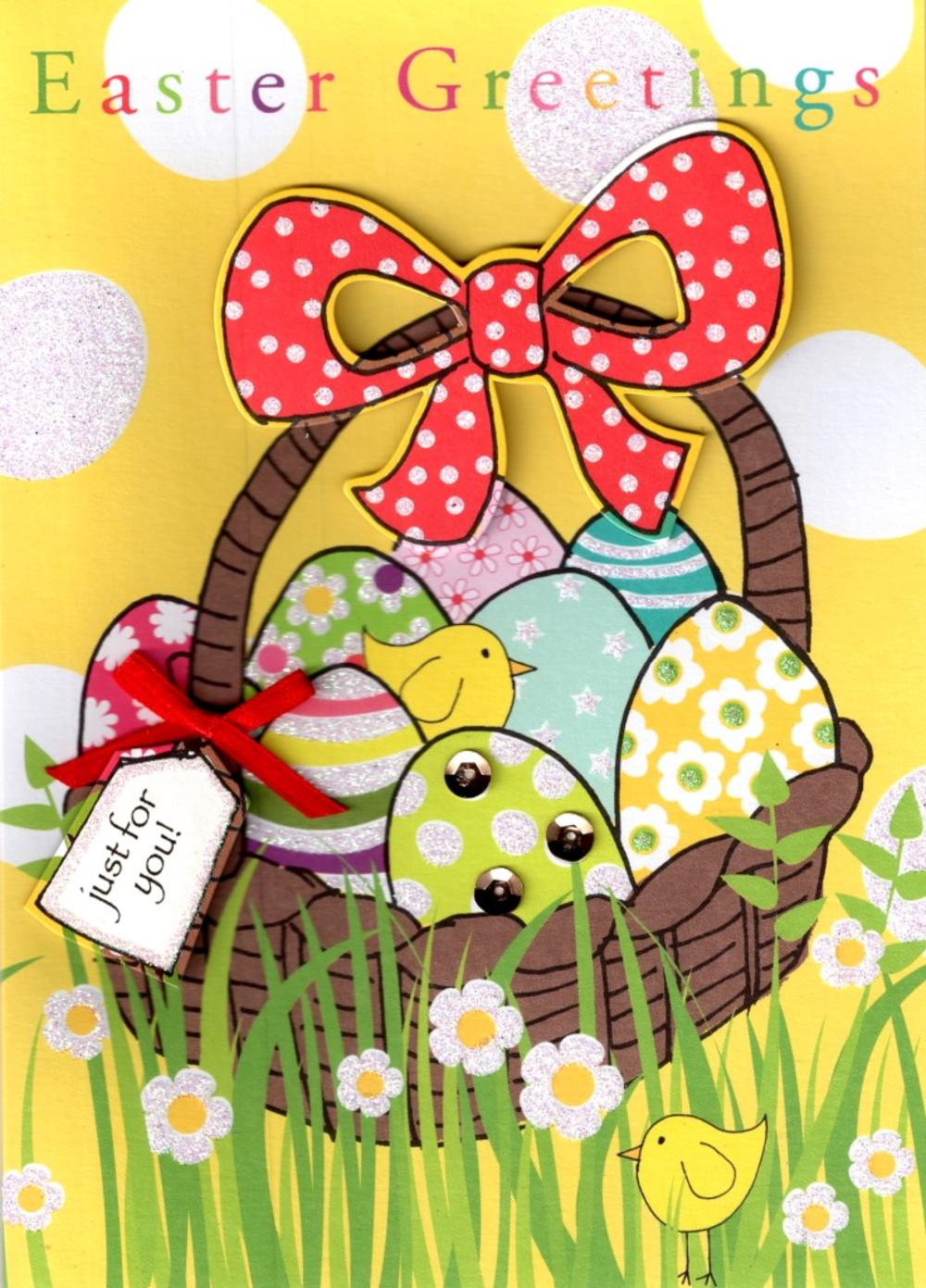 Easter Greetings Cute Easter Basket Card
