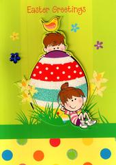 Easter Greetings Cute  Easter Egg Childrens Card