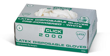 Click Latex Pre Powdered Disposable Gloves 100 Pack Thumbnail 2