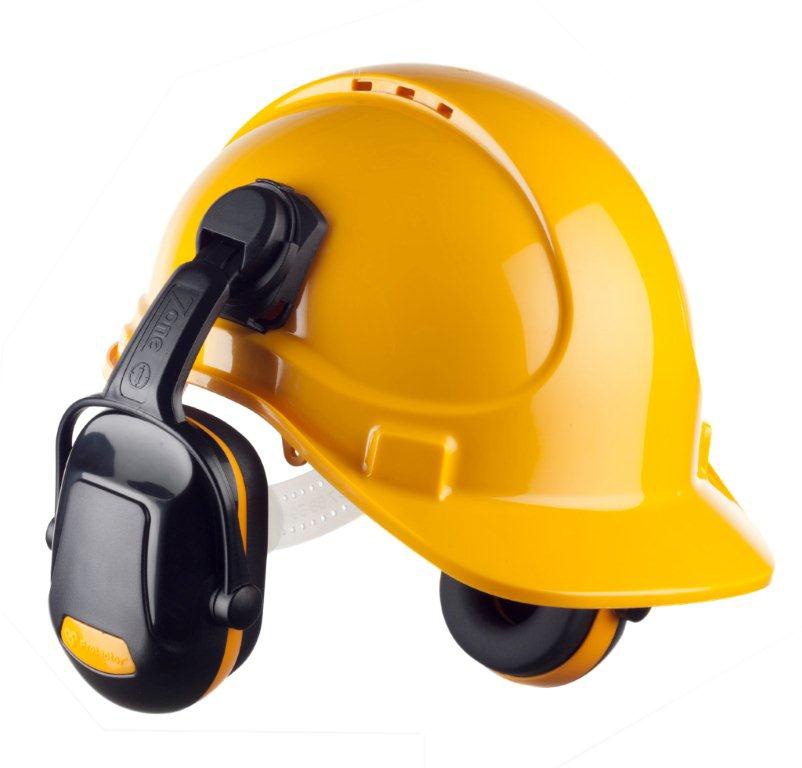 7819a840a8f Sentinel Scott HC300 Hard Hat Safety Helmet Sweatband with Zone 1 Clip on  Ear Defenders