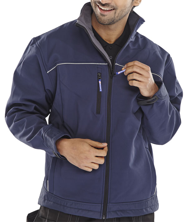 6XL Coat Water Resistant Click Soft Shell Jacket Black or Navy Blue XS