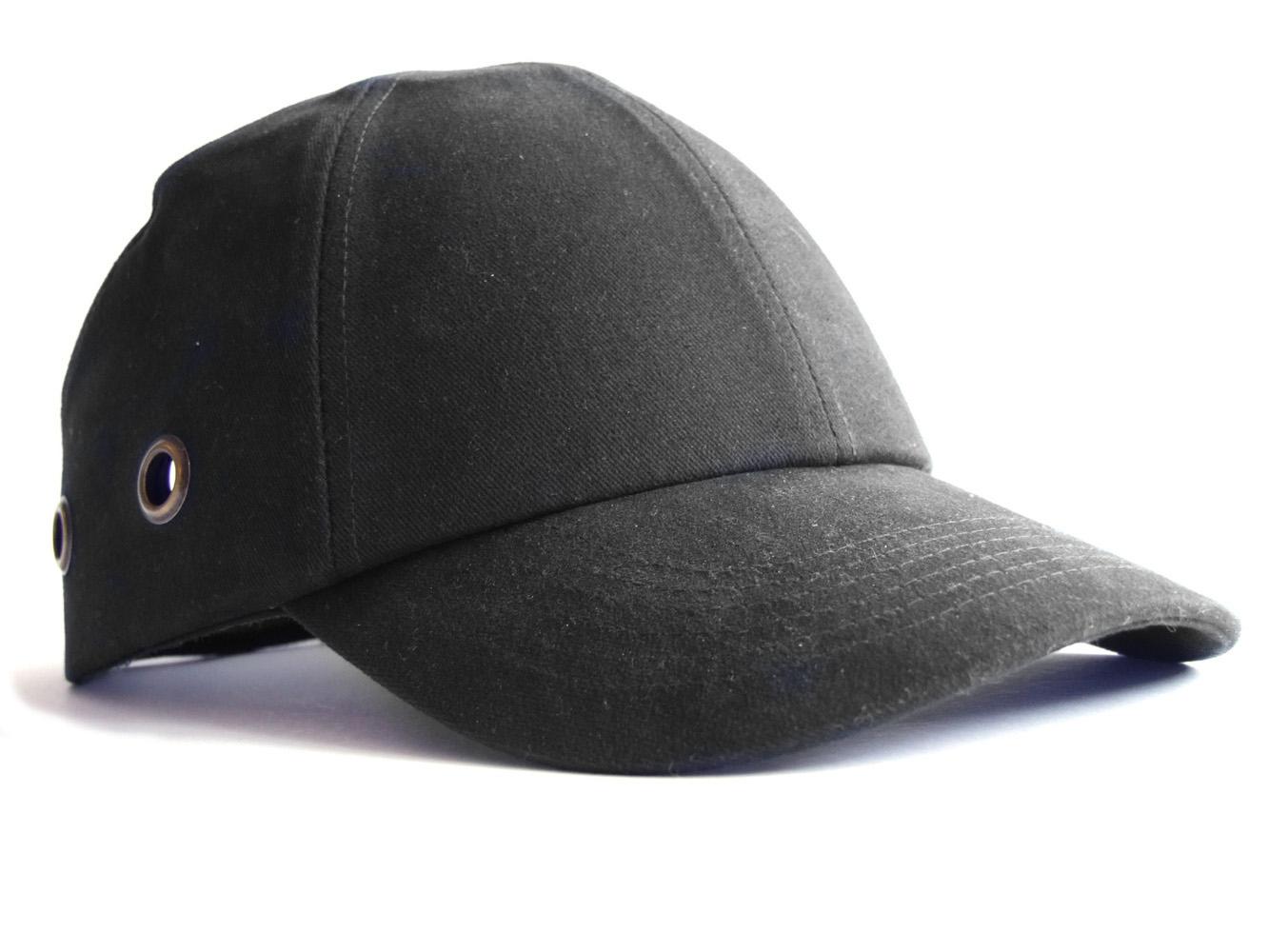 Safety Baseball Cap Hard Hat Bump Cap Black Vented Velcro