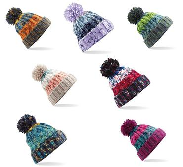 Knitted Corkscrew Beanie Bobble Hat