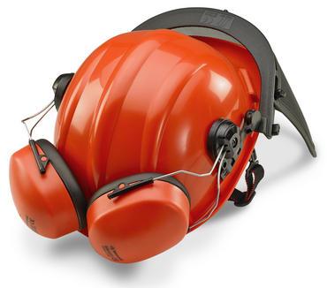 Forestry Safety Helmet Red, Mesh Visor  Thumbnail 2