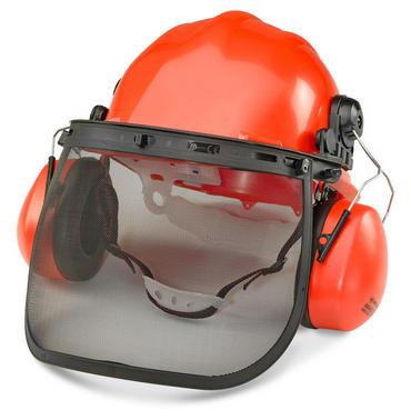 Forestry Safety Helmet Red, Mesh Visor